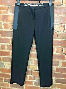 Nougat London Black Silk Blend Tuxedo Trousers Size 2 12 Lace & Satin Detail