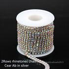 1/10yard 2Row ss6 ss12 ss16 clear AB crystal rhinestone trims Silver close chain