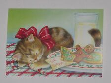 6 Unused Vtg Christmas Cards Kitten Waiting For Santa Sleeping By Cookies & Milk