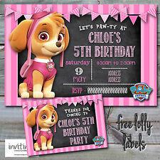 Paw Patrol Birthday Party Pink Girl Skye Chalk Invitation Invite