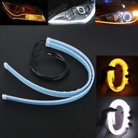 2x 45CM LED Car DRL Daytime Running Lamp Strip Light Flexible Soft Tube Flexi fn