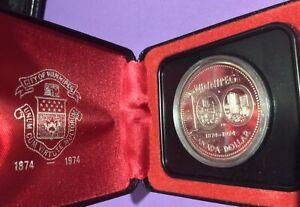 Canada SPECIMEN Silver dollar  - WINNIPEG 1874-1974 with RCM Case - KM88a
