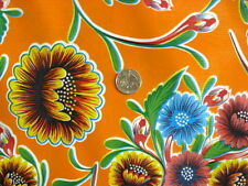 ORANGE BLOOM MEXICAN FIESTA PICNIC DINING OILCLOTH VINYL TABLECLOTH 48x60 NEW