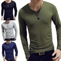 Fashion Men Slim Fit O Neck Long Sleeve Muscle Tee T-shirt Casual Top Blouse