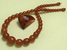 VINTAGE BEAUTIFUL RUSSIAN BALTIC HONEY AMBER NECKLACE AND BROOSCH SET USSR