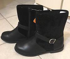 Gymboree Boots, Size 3, Black, Short Above Ankle Boots, Zipper, Faux Buckle, New