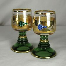 Frankfurt A M Cordial Liqueur Glasses (2) Two Goblet Green Gold Grapes Flowers