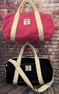 Victoria Secret Gym Duffle Overnight Bags Pink And Black 10x20 - Lot of 2