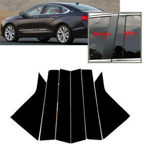 For 2014-2020 Chevrolet Impala Body Pillar Posts Door Window Trim Black 6Pcs
