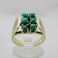 Grazioso vintage in oro 9 carati Anello Set con TORQUOISE. TAGLIA K