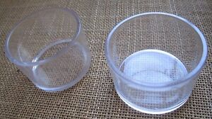 Round pots/ feeder large in  clear plastic x 6. for many cage & aviary birds