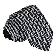 DQT Knit Knitted Houndstooth White Black Casual Mens Slim Tie