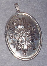 Reed Barton Sterling Floral Oval Mirror Pendant Decoration Christmas Ornament