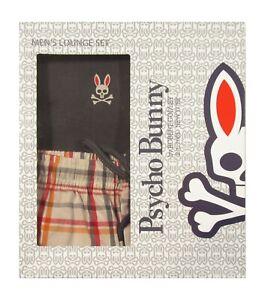 Psycho Bunny Men's Magnet Gray V-Neck S/S Shirt & Woven Pant Lounge Set Gift Box