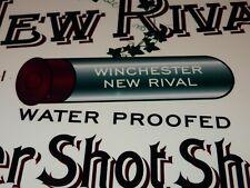 "VINTAGE WINCHESTER NEW RIVAL SHOTGUN SHELLS 12"" METAL BULLET AMMO GAS & OIL SIGN"