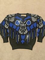 Vintage Slouch Sweater  Shiny 80s 90s Glam Rock Geometric Sequins Sz M Abstract