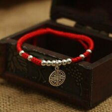 Sterling Silver Chinese Lucky Kalachakra Red Cord Bracelet Adjustable Size