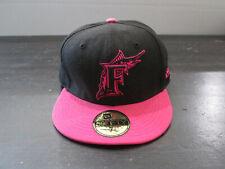 New Era Florida Marlins Hat Cap Fitted Size 7 3/8 Black Pink MLB Baseball Mens