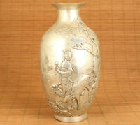 big unque chinese white copper hand carved deer belle dragon vase