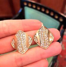 ITALIA MODERNA pavé di diamanti BOTTONE Orecchini 3.00 K in 18k oro giallo -