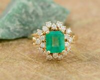 Vintage 5 Ct Emerald Cut Green Emerald Antique Ring 14K Yellow Gold Over