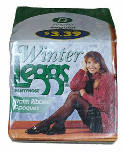 Vintage 90s Winter Leggs Pantyhose Warm Ribbed Opaques Ivory Regular Size B 1996
