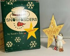 Sarah's Attic Snowonders Believe in Hope Snowman Angel Fisherman Fishing Rod