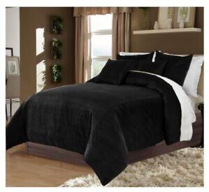 5 PC Reversible Black & White Twin XL Size Velvet Duvet Cover Set Home Decor
