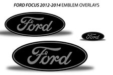 Oval Badge Emblem Logo Overlay Sticker Decals For Ford Focus 2012-2014 GREY BLK