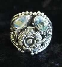 Hand Crafted Sterling Silver Moonstone & Blue Topaz Ring Bohemian Flower UK R