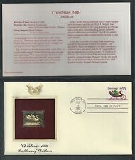 # 2428 CONTEMPORARY CHRISTMAS Sleigh & Presents 1989 Gold Foil First Day Cover