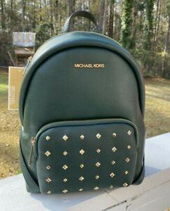 New Michael Kors Erin Medium Green Studded MK Soft Pebbled Leather Backpack Bag