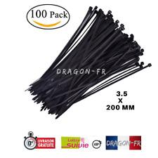 100 Attaches Cables Colliers Serre Rislan Zip Autobloquant Nylon Noir 3.5x200 mm
