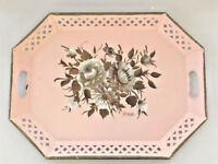 "Vtg Shabby Chippy TV Bed Tray Floral Pink Toleware Nashco Metal 20"" Signed"