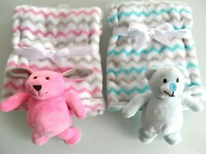 BABY BLANKET WITH SOFT CUDDLY BEAR or RABBIT