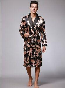 Two-Pieces Silk Nightgown Satin male Sleepwear Loose Dress Silky Long Sleeve