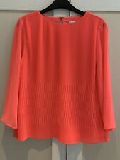 Ted Baker Bright Pink Fluro Pleated Top Floaty Blouse UK 8 NEW with Tags