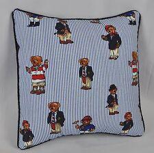 Pillow made w Ralph Lauren Polo Teddy Bear Blue Pin Stripe Cotton Fabric S cord