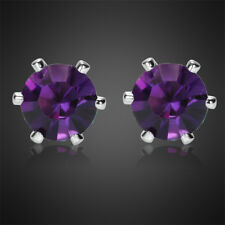 Fashion Jewelry Lady Round Cut Purple Amethyst White Gold Plated Stud Earrings N