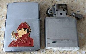 Original Zippo Chrome Lighter -Customised for a Sherlock Holmes theme