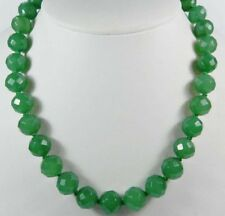 "10mm Green Emerald Faceted Round Beads Necklace 18"" JN382"
