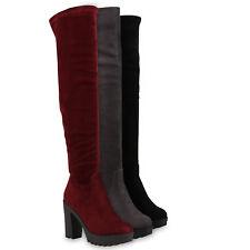 Damen Stiefel Overknees Blockabsatz Boots High Heels 813352 Schuhe