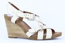 Franco Sarto Women's Beige Leather Hallie Wedge Sandal Size 9.5M