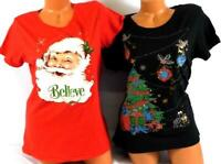2 Lot holiday time red believe santa/black christmas tree ugly christmas top XL