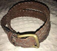 "Brown Leather Braided Belt W/ Brass Buckle - 36"""