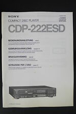 SONY CDP-222ESD Original CD-Player Bedienungsanleitung/Operating Instructions
