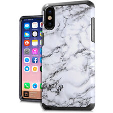 For iPhone X - White Marble Design Hard Hybrid Rubber Protector Skin Case Cover