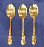 Set of 3 Gold Tone finish Walco Flatware Floral Rose Sugar Spoons