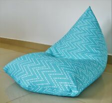 WATERPROOF INDOOR/OUTDOOR BEAN BAG Cover, Aqua / Turquoise Chevron Coastal