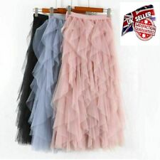 LADIES High Waist Ruffle Mesh Tutu Skirt SheerNet Tulle Pleated Long Party Dress